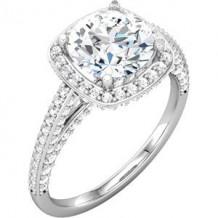 10K White 5.25 mm Round Cubic Zirconia & 1/2 CTW Diamond Engagement Ring. Size 7