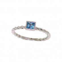 Val Casting 14k White Gold Ladies Square Blue Topaz Ring