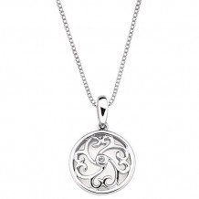 Ostbye Sterling Silver Diva Diamonds Heart Scroll Necklace