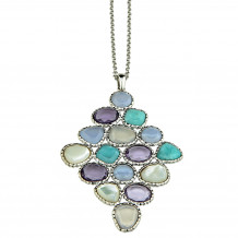 Sterling Silver Chalcedony, Amazonite, Mother of Pearl and Amethyst Necklace