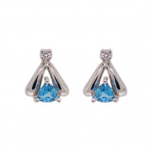 Val Casting 14k White Gold Ladies Trill Blue Topaz Earrings