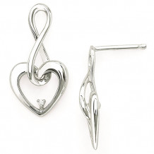 Ostbye Sterling Silver Diva Diamonds Heart Earrings