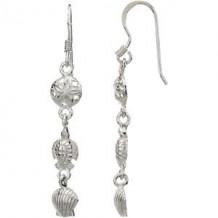 Sterling Silver Sand Dollar, Turtle, & Shell Earrings