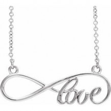 "Sterling Silver 27.5x8.4 mm Infinity-Inspired Love 17"" Necklace"