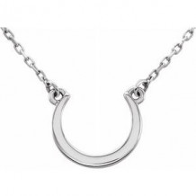 "Sterling Silver Crescent 18"" Necklace"
