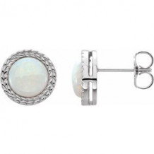 14K White Opal Bezel-Set Leaf Earrings