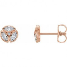 14K Rose 1/2 CTW Diamond Earrings