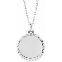 "Sterling Silver Beaded Disc 16-18"" Necklace"