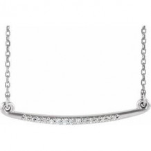 "Sterling Silver .05 CTW Diamond Curved Bar 16-18"" Necklace"