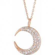 "14K Rose 1/3 CTW Diamond Crescent Moon 16-18"" Necklace"