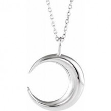 "Sterling Silver Crescent Moon 16-18"" Necklace"