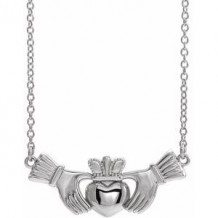 "Sterling Silver Claddagh 18"" Necklace"