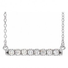 "14K White 1/2 CTW Lab-Grown Diamond French-Set Bar 16-18"" Necklace"