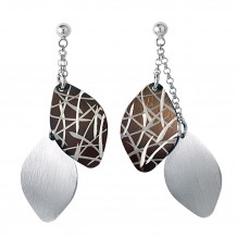 Sterling Silver, Ruthenium Bamboo Leaves Earrings