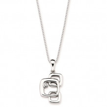 Ostbye Sterling Silver Diva Diamonds Squares Drop Necklace