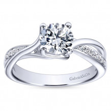 Gabriel & Co 14k White Gold Round Bypass Engagement Ring