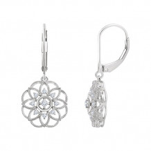 Stuller 14k White Gold Diamond Granulated Filigree Earrings