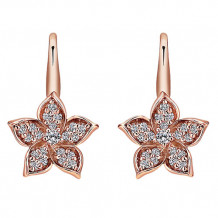 14k Rose Gold Gabriel & Co. Diamond Floral Drop Earrings
