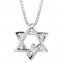 Ostbye Sterling Silver Diva Diamonds Star of David Necklace