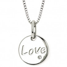 Ostbye Sterling Silver Diva Diamonds Love Disc Necklace