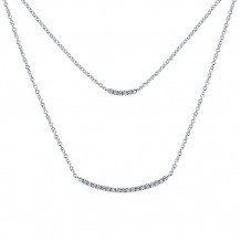 14k White Gold Gabriel & Co. Diamond Indulgence Double Bar Necklace