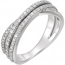 14k White Gold Stuller 5/8ct Diamond Criss Cross Ring