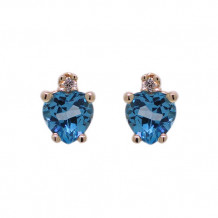 Val Casting 14k Rose Gold Ladies Heart Shaped Blue Topaz Earrings