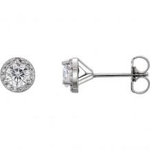 Stuller 14k White Gold Round Halo-Style Forever One Moissanite Earrings