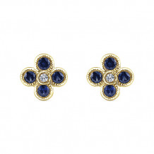 14k White Yellow Diamond Blue Sapphire Stud Earrings