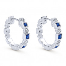 14k White Gold Gabriel & Co. Diamond Blue Sapphire Huggie Earrings