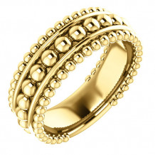 14k Yellow Gold Stuller Wide Beaded Fashion Ring