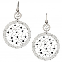 Sterling Silver Black Spinel Circle Lace Earrings