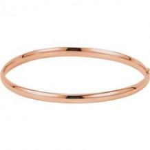 14K Rose 4 mm Hinged Bangle Bracelet