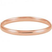 14K Rose 6.5 mm Hinged Bangle Bracelet