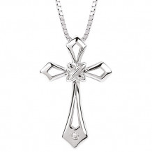 Ostbye Sterling Silver Diva Diamonds Cross Necklace