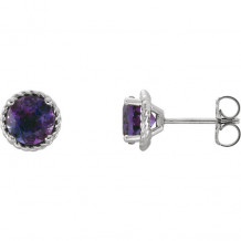 Stuller 14k White Gold Amethyst Rope Earrings