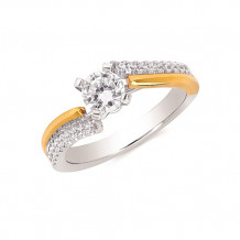 Ostbye 14k Two Tone Gold Bypass Diamond Engagement Ring