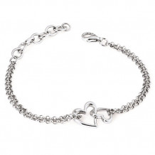 Ostbye Sterling Silver Diva Diamonds Double Heart Bracelet