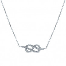 14k White Gold Gabriel & Co. Eternal Love Diamond Necklace