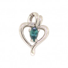 Val Casting 14k White Gold Ladies Pear Alexandrite Pendant
