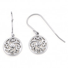 Ostbye Sterling Silver Diva Diamonds Heart Scroll Earrings