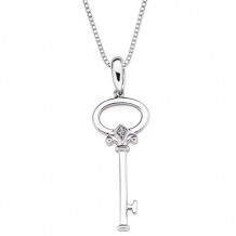 Ostbye Sterling Silver Diva Diamonds Key Necklace