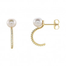 Stuller 14k Yellow Freshwater Cultured Pearl & Diamond Earrings