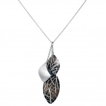 Sterling Silver, Ruthenium Bamboo Leaves Necklace