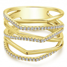 14K Yellow Gold Multi Row Diamond Wide Band