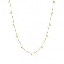 14K Yellow Gold Kite Drop Diamond Station Necklace