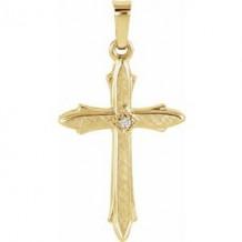 14K Yellow 22.5x15.5 mm Diamond Cross Pendant