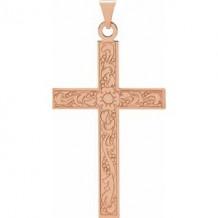 14K Rose Cross Pendant