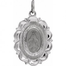 Sterling Silver 22x16 mm Oval Miraculous Medal