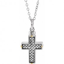 "Sterling Silver Woven Cross Ash Holder 18"" Necklace"